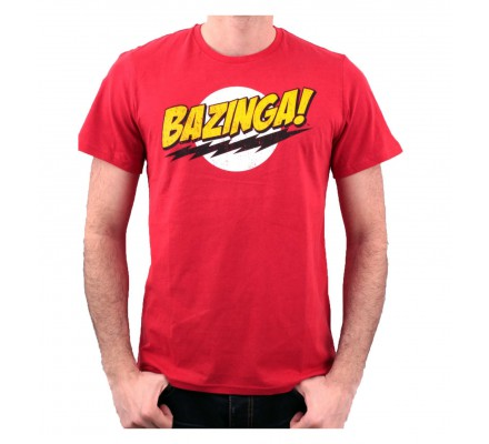 Tee-Shirt Rouge Texte Bazinga The Big Bang Theory