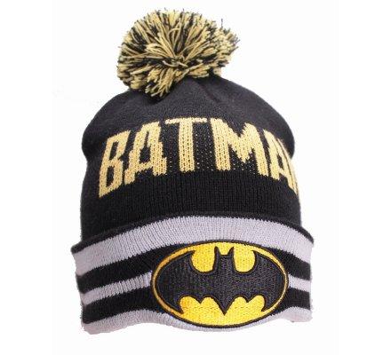Bonnet Noir et Gris Pompom Logo Batman