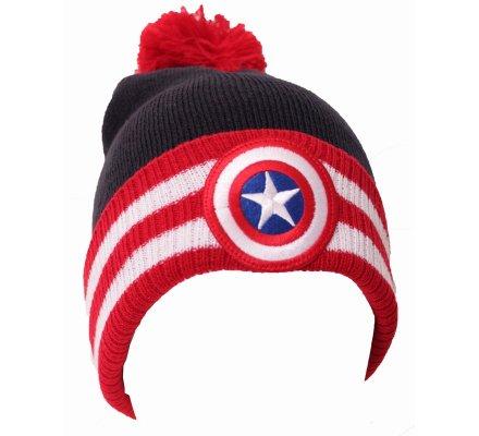 Bonnet Noir et Rouge Pompom Captain America