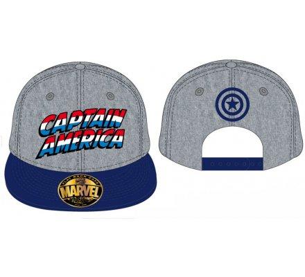 Casquette Grise Logo Texte Captain America