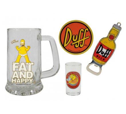 Pack Chope Homer + Décapsuleur + Verre à liqueur + Sous-Verre Duff Simpsons