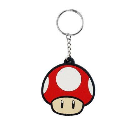 Porte-clés caoutchouc Mario Champignon Rouge 6 cm Nintendo