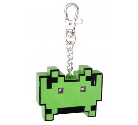 Porte-clés lumineux vert Space Invaders