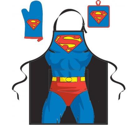 Tablier + Manique + Gant Bleu Corps Superman