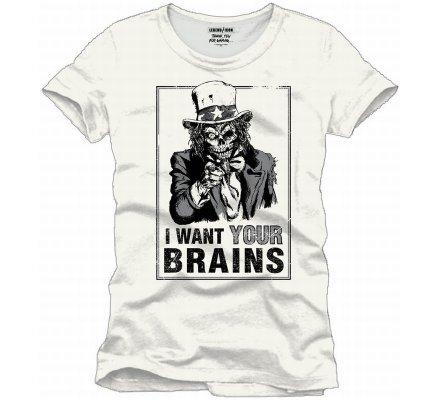 Tee-Shirt Blanc I Want Your Brains Geek