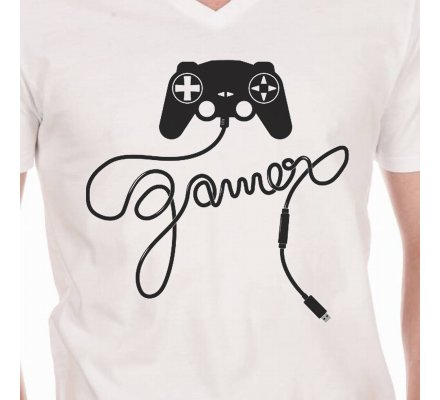 Tee-Shirt Blanc Manette Gamer Geek