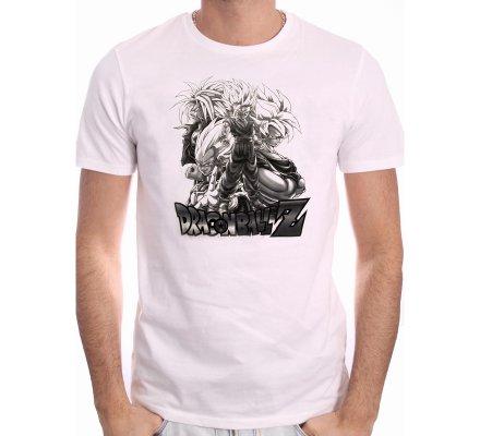 Tee-Shirt Blanc Saiyan Group Dragon Ball Z