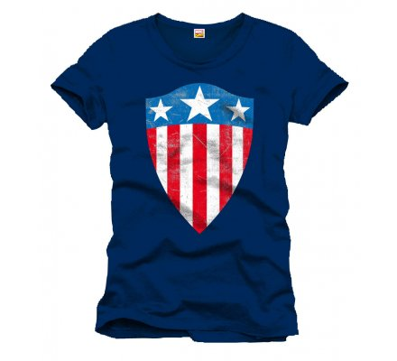 Tee-Shirt Bleu Old Shield Logo Captain America