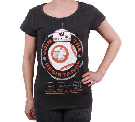 Tee-Shirt Femme Gris BB8 Star Wars