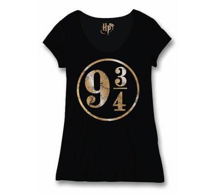 Tee-shirt Femme Noir 9 3/4 Harry Potter