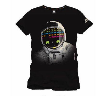 Tee-Shirt Noir Cosmonaute Space Invaders