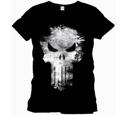 Tee-Shirt Noir Distress Skull Punisher