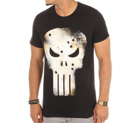 Tee-Shirt Noir Gunshot Skull Punisher