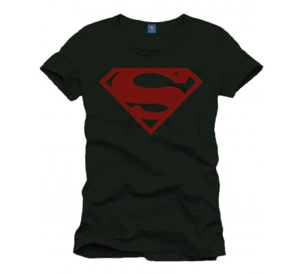 Tee-Shirt Noir Logo Rouge Superman