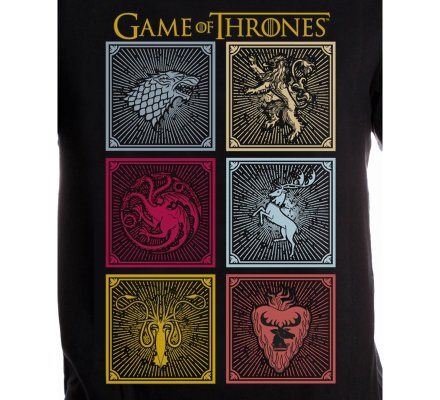 Tee-Shirt Noir Logos Familles Game of Thrones