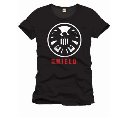 Tee-Shirt Noir Shiel Mark Captain America