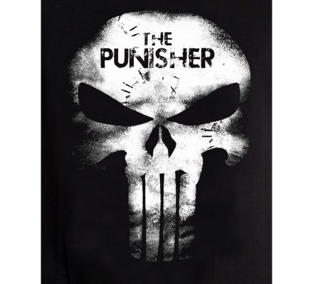 Tee-Shirt Noir Skull Leather Effect Punisher