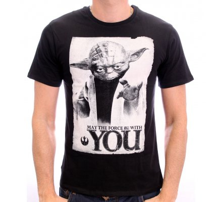 Tee-Shirt Noir Yoda May The Force Be With You Star Wars