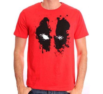 Tee-Shirt Rouge Deadpool Splash Head Marvel