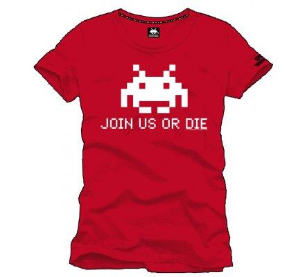 Tee-Shirt Rouge Join Us Or Die Space Invaders