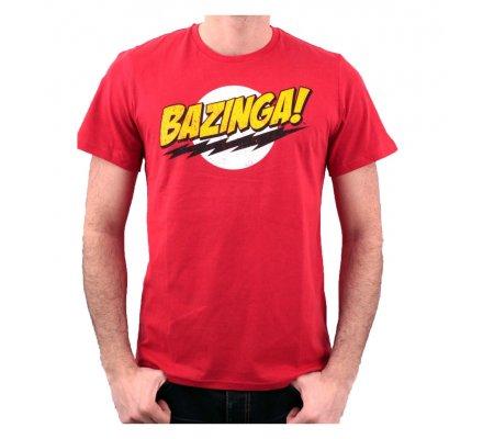 Tee-Shirt Rouge Texte Bazinga The Big Bang Theory
