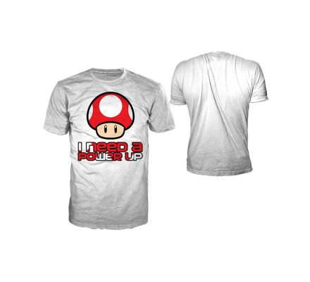Tee-Shirt Blanc Mario I Need A Power Up Nintendo