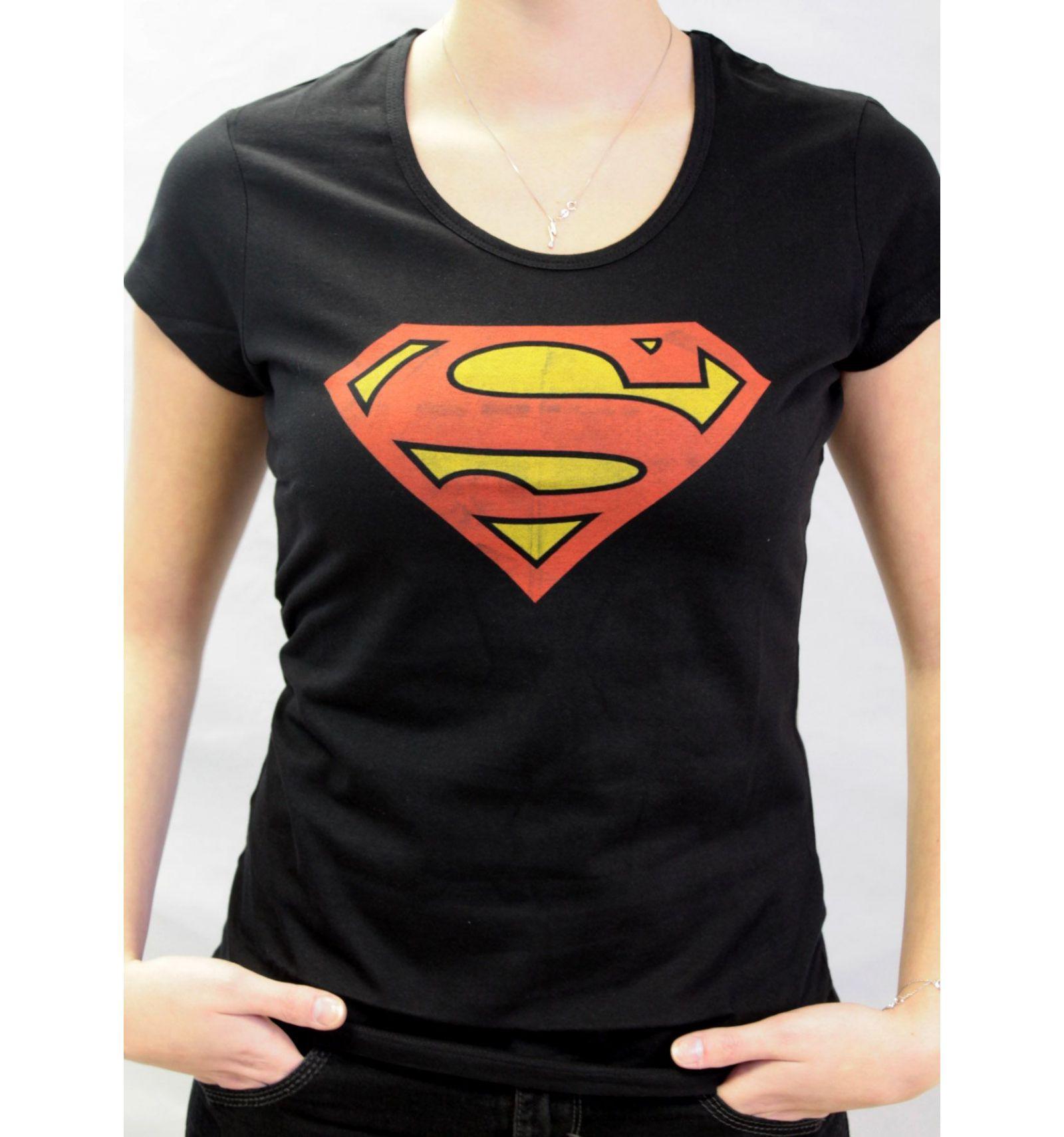 tee shirt femme noir logo superman 1007. Black Bedroom Furniture Sets. Home Design Ideas