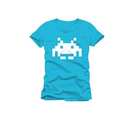 Tee-Shirt Bleu Logo Blanc Space Invaders